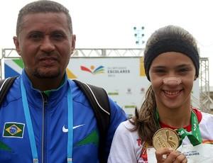 Antônio Nilson e Gabriela Fontenele nas Olimpíadas Escolares em Curitiba (PR) (Foto: Pedro Veríssimo / GLOBOESPORTE.COM)