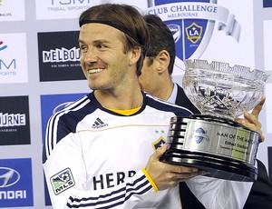 Beckham na partida comemorativa contra o Melbourne Victory (Foto: AP)