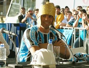 Kleber na apresentação oficial no Grêmio (Foto: Diego Guichard / GLOBOESPORTE.COM)