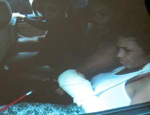 Reconstituição caso Adriano - Adriene (Foto: Marcelo Baltar/Globoesporte.com)