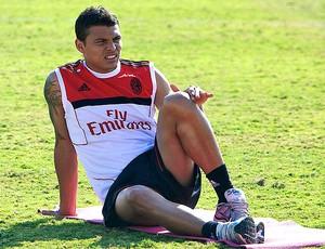 Thiago Silva no treino do Milan (Foto: AP)