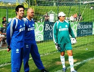 Marcos com Carlos Pracidelli no treino do Palmeiras (Foto: Divulgação)