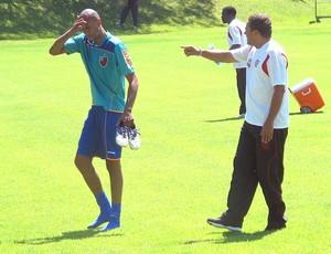 Luxemburgo e Alex Silva no treino do Flamengo (Foto: Janir Junior / GLOBOESPORTE.COM)