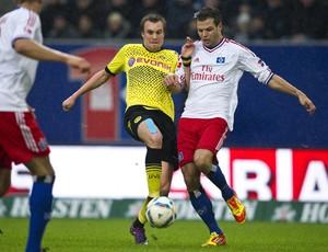 Dennis Diekmeier e Kevin Grosskreutz, Borussia Dortmund x Hamburgo (Foto: AFP)