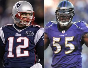 Montagem NFL - Tom Brady x Terrell Suggs (Foto: Getty Images)