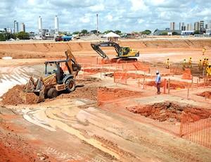 obras na Arena das Dunas para a Copa 2014 (Foto: Divulgação)