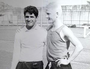 Rimbo Lundblad com Paulo Henrique, lateral-esquerdo do Flamengo e da seleção, num treinamento na Gávea (Foto: Rafael Maranhão / GLOBOESPORTE.COM)
