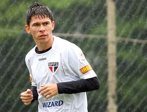 Osvaldo no treino do São Paulo (Foto: Anderson Rodrigues / Globoesporte.com)