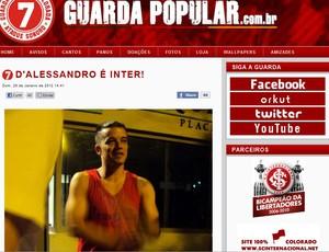 D'Alessandro torcida Inter (Foto: Reprodução/Site Guarda Popular)