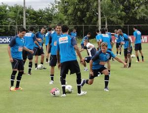 Jogadores do Cruzeiro no aquecimento (Foto: Leonardo Simonini/Globoesporte.com)
