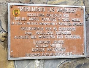 Placa do Monumento Las Americas (Foto: Carlos Augusto Ferrari / GLOBOESPORTE.COM)