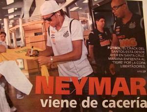 fotos do jornal boliviano sobre neymar (Foto: Marcelo Hazan /globoesporte.com)