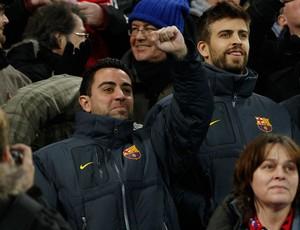 xavi pique bayer leverkusen x barcelona (Foto: Reuters)
