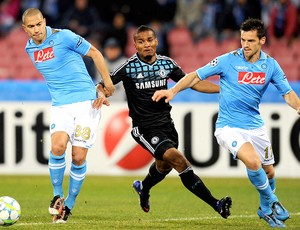 Malouda na partida do Chelsea contra o Napoli (Foto: Getty Images)