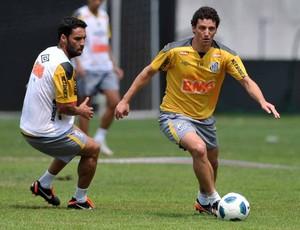 Elano e Ibson no treino (Foto: Ivan Storti / Divulgação Santos FC)