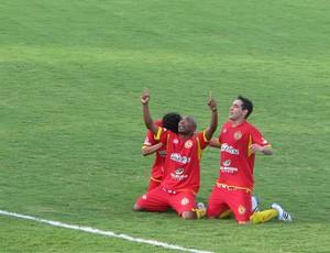 Comemoração Atlético Sorocaba no jogo contra o Rio Preto - gol do Marco Aurélio (Foto: Rafaela Gonçalves / GLOBOESPORTE.COM)