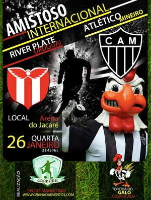 Cartaz promocional do amistoso entre Atlético-MG x River Plate-URU