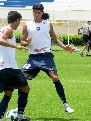 Loco Abreu no treino do Botafogo em Aracajú (Foto: Gustavo Rotstein / GLOBOESPORTE.COM)