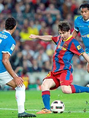 Messi na partida do Barcelona contra o Almeria (Foto: EFE)