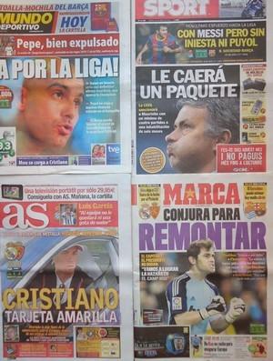 Jornais espanhóis (Foto: Thiago Dias / Globoesporte)