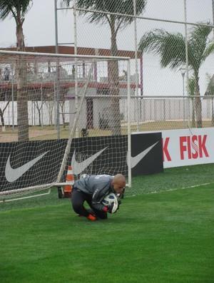 Goleiro Julio Cesar treina com bola no Corinthians (Foto: Carlos Augusto Ferrari (GLOBOESPORTE.COM))