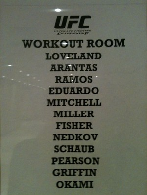 Lista lutadores sal de aquecimento hotel (Foto: Livia Sant'ana/SporTV)