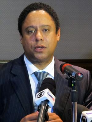 Ministro Orlando Silva coletiva em Guadalajara (Foto: Gustavo Rotstein/Globoesporte.com)