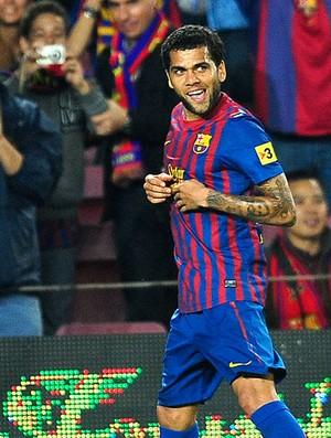 Daniel Alves comemora gol do Barcelona contra o Mallorca (Foto: AP)