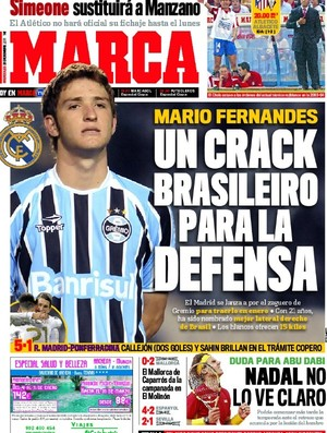 Mário Fernandes, lateral do Grêmio, receberá proposta do Real Madrid, segundo jornal espanhol (Foto: Reprodução / Marca)