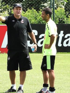 Cuca e Pierre no treino do Atlético-MG (Foto: Fernando Martins / Globoesporte.com)
