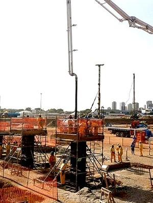 obras na Arena das Dunas para a Copa 2014 (Foto: Tiago Falqueira / Portal da Copa)
