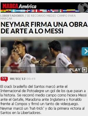 Diário Marca destaca atuação de Neymar (Foto: Reprodução)