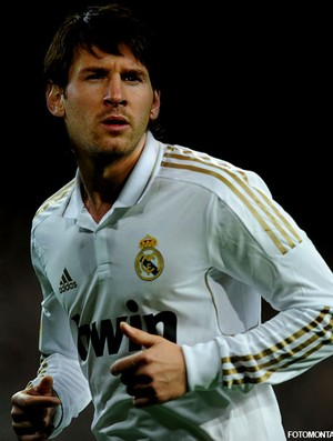 FOTOMONTAGEM - Messi camisa real madrid (Foto: Agência Getty Images)