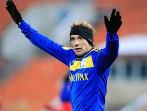 Renan Bressan comemorando gol do Bate (Foto: Reuters)