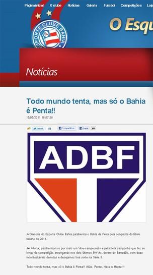 Bahia goza rival (Foto: Reprodução)