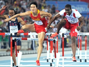 Dayron Robles e Liu Xiang na final dos 110 metros com barreiras (Foto: AFP)