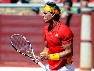 Nadal na partida contra Richard Gasquet na Copa Davis (Foto: AFP)