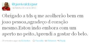 Goleiro Genivaldo Twitter (Foto: Repordução Twitter)
