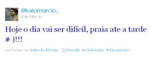 Kaio Márcio posta que está de férias no Twitter (Foto: Repordução Twitter)