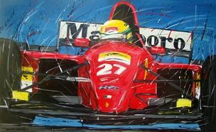 Quadro do artista da velocidade Roberto Muccillo coloca Ayrton Senna na Ferrari de Fórmula 1 (Foto: Acervo pessoal)
