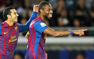 Keita comemora gol do Barcelona contra o Al Sadd (Foto: Reuters)