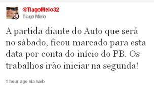 Tiago afirmou que o jogo foi marcado para o sábado para não atrapalhar o Campeonato Paraibano (Foto: Divulgação)
