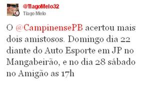 Diretor do Campinense confirmou os amistosos (Foto: Divulgação)