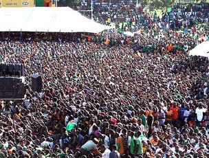 torcida da Zâmbia comemora o título da Copa Africana de Nações (Foto: AP)
