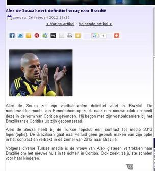 Site europeu traz a informação que Alex pode retornar ao Coritiba. Atleta nega (Foto: Reprodução)