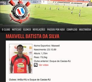 Jorbison ficha atleta Maxwell Corinthians-AL (Foto: Reprodução / Site Oficial)