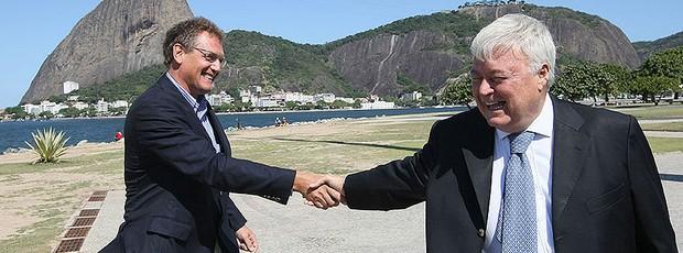 Jérome Valcke e Ricardo Teixeira em visita da FIFA