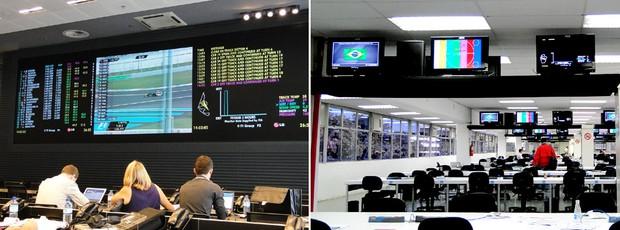 Comparação das salas de imprensa da Yas Marina e de Interlagos