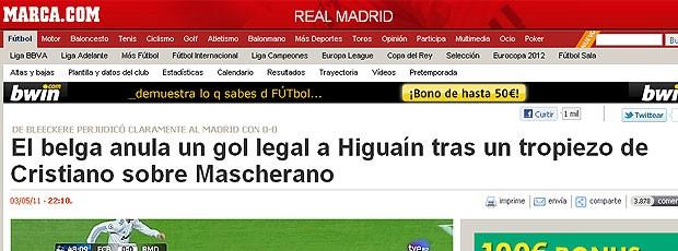 reprodução Marca gol anulado Real Madrid (Foto: Reprodução / Marca.com)