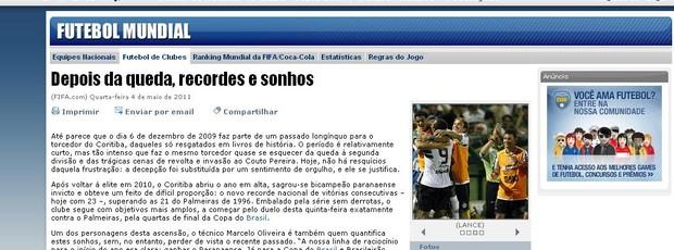Coritiba é destaque na Fifa (Foto: reprodução)